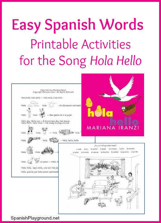 Easy Spanish Words Printable Activities for the Song Hola Hello