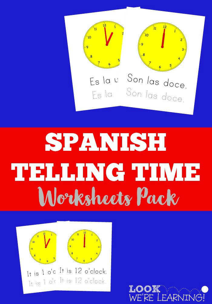 Pick up this Spanish Telling Time Worksheets Pack to help kids learn to tell time in Spanish