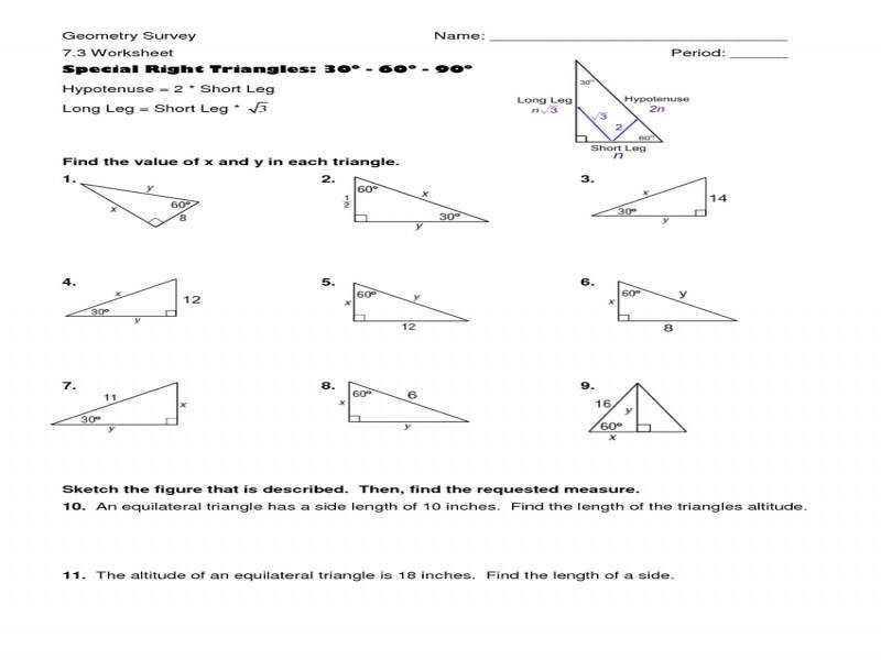 Trigonometry Prerequisite Special Right Triangles Worksheet Answer