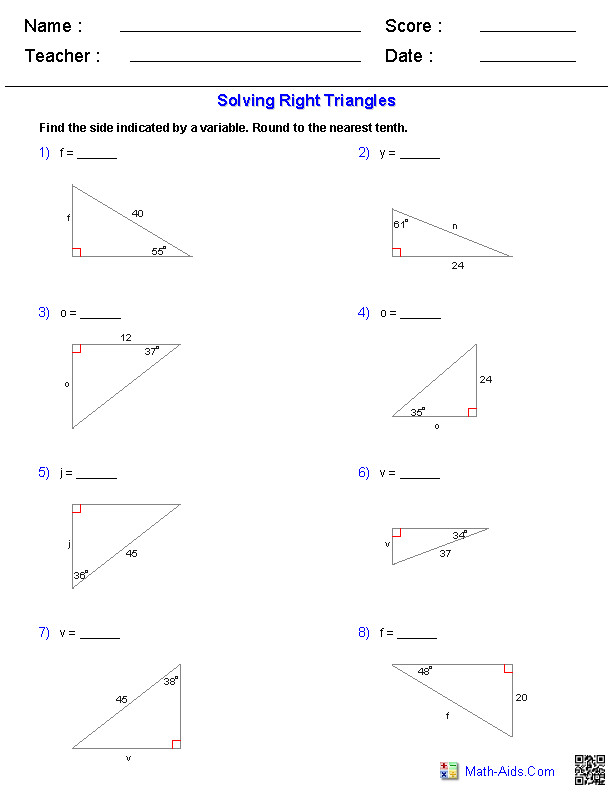 Geometry Special Right Triangles Worksheet Answers