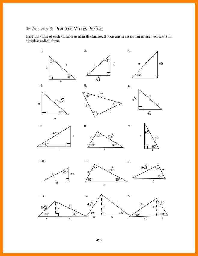 Special Right Triangles Worksheet Homeschooldressage Com