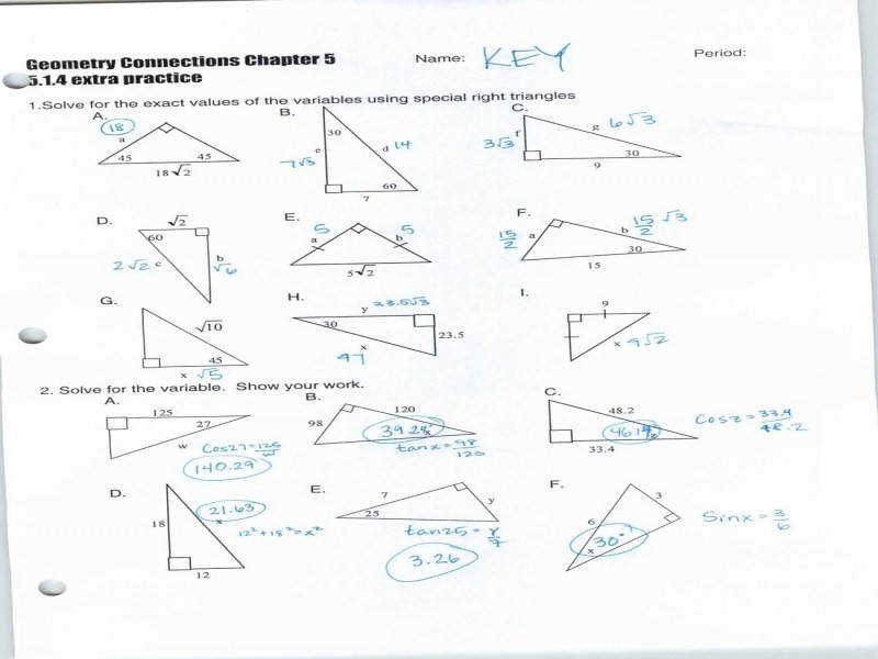 Right Triangle Trig Worksheet Guillermotull