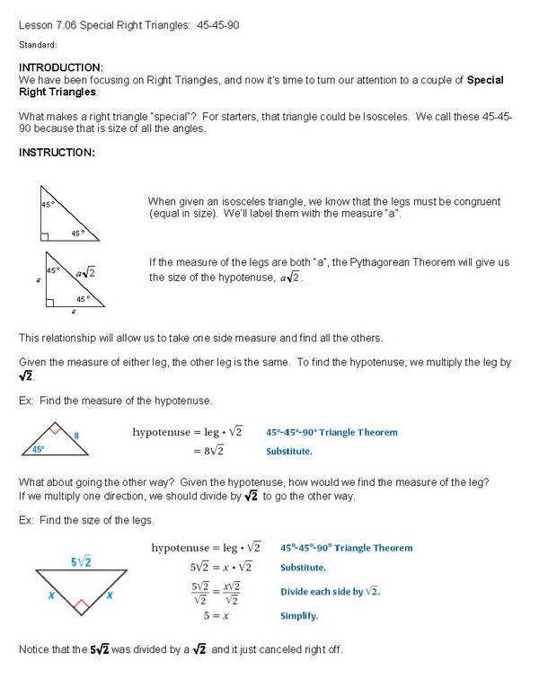 Applying Special Right Triangles Triangle Congruence Section A Quiz Source ·