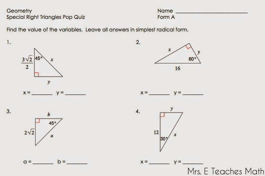 Special Triangles Worksheet