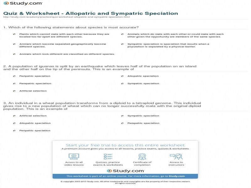 Quiz & Worksheet Allopatric And Sympatric Speciation