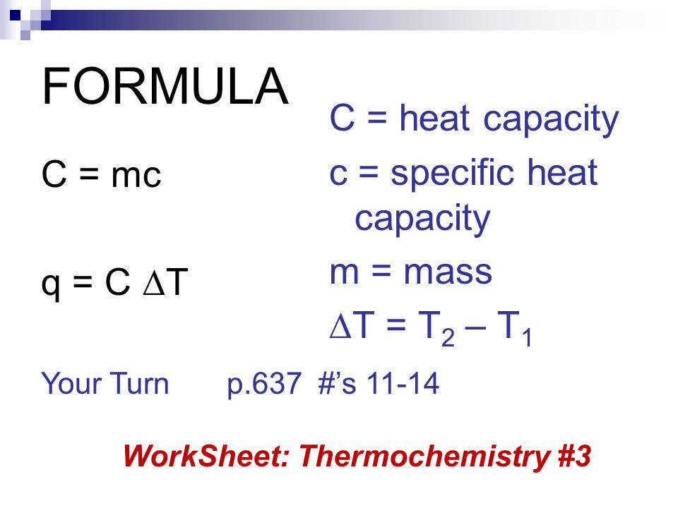 specific heat calculations worksheet