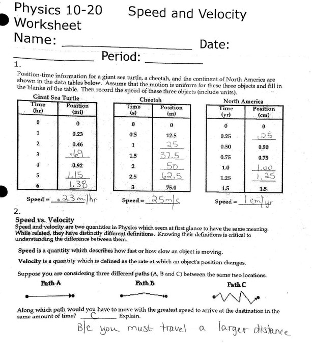 speed and velocity worksheet. Black Bedroom Furniture Sets. Home Design Ideas