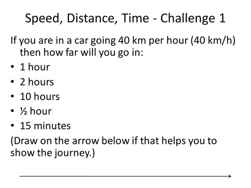 Speed Distance Time Basic Level Challenges by pand Teaching Resources Tes