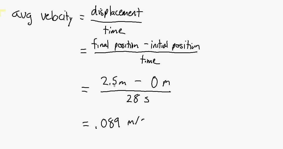 Position and Velocity Worksheet Problem 1 Avg Speed and Velocity