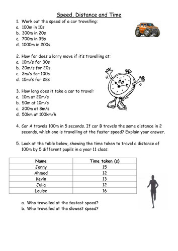 Speed distance and time calculations by PinkHelen Teaching Resources Tes