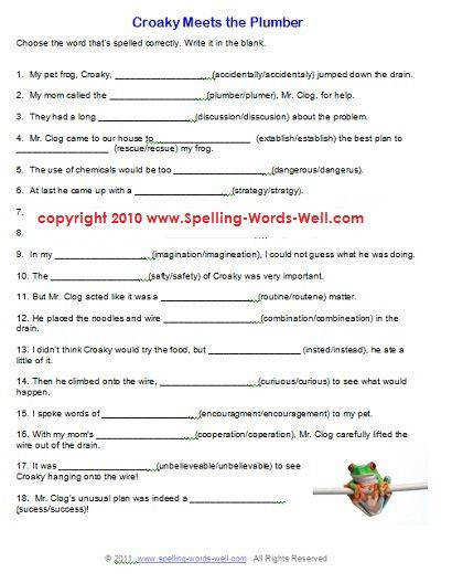 "e of my favorite free printable spelling worksheets It s titled ""Croaky Meets the Plumber"