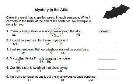 Mystery in the Attic spelling worksheet