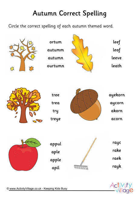 Autumn Spelling Corrections Worksheet