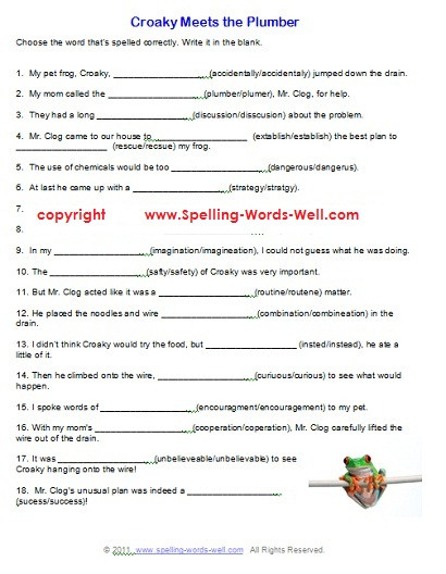 Croaky Meets the Plumber free spelling worksheet