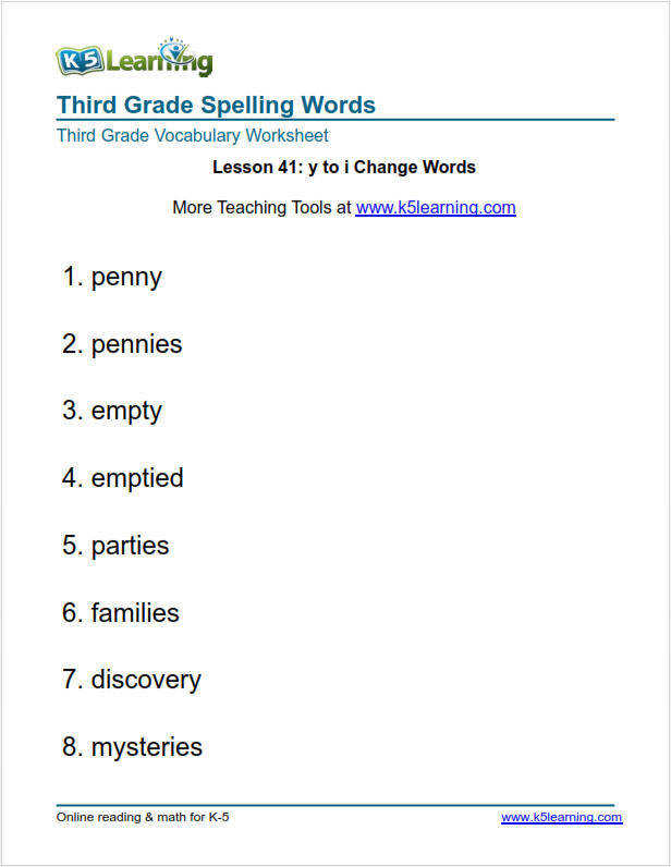 Lesson 3 sight words third grade spelling worksheets