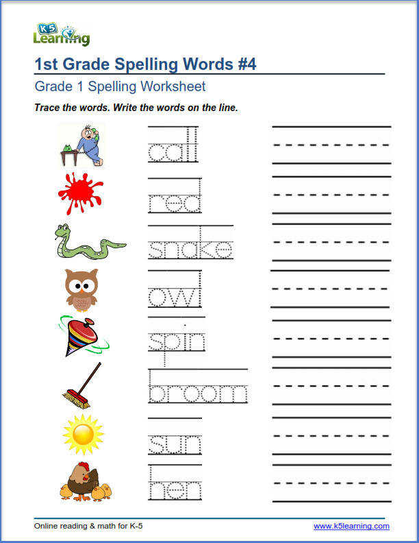 trace and write spelling words