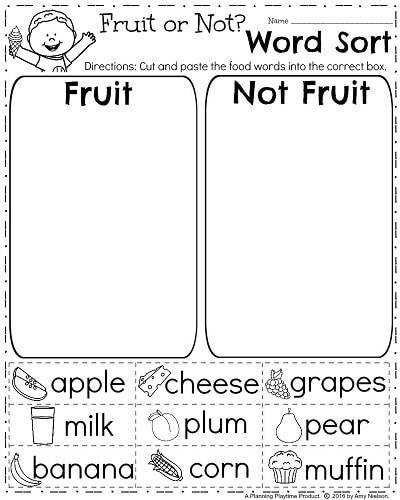 FREE Spring Worksheet for First Grade Sorting Words into Categories Fruit or Not