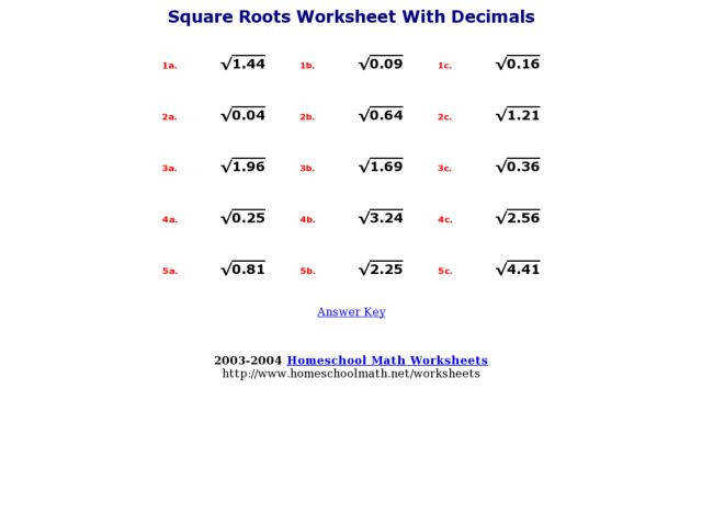 Square Roots Worksheet With Decimals 7th 8th Grade Worksheet