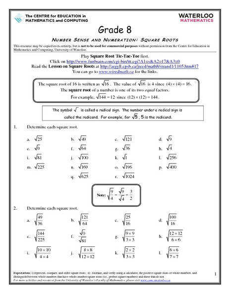 8th Grade Math Worksheets Square Roots