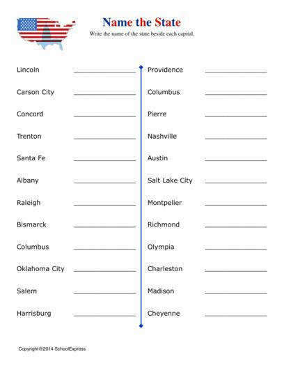 United States Worksheets States and Capitals 04