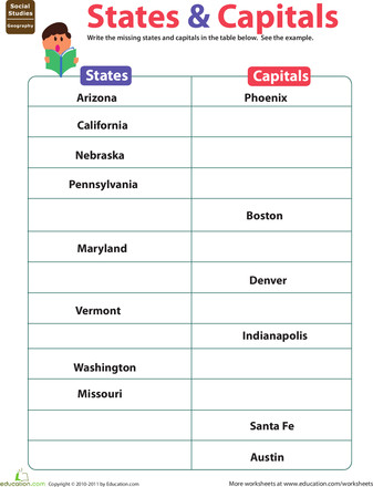 Studying State Capitals Worksheets 5th Grade