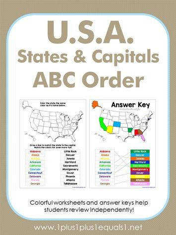 U S A States and Capitals Worksheets 1 1 1=1