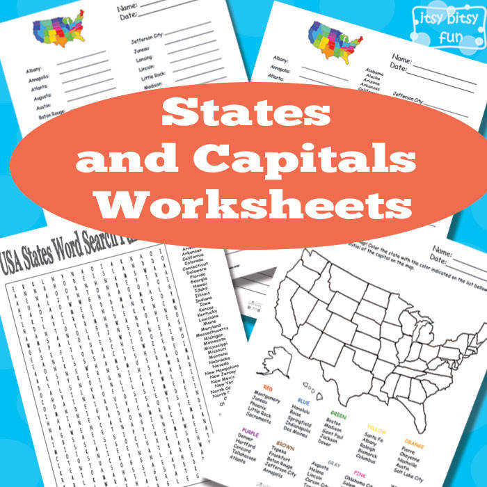 Itsy Bitsy Fun has FREE States and Capitals worksheets This pack includes word search fill in the blanks and more