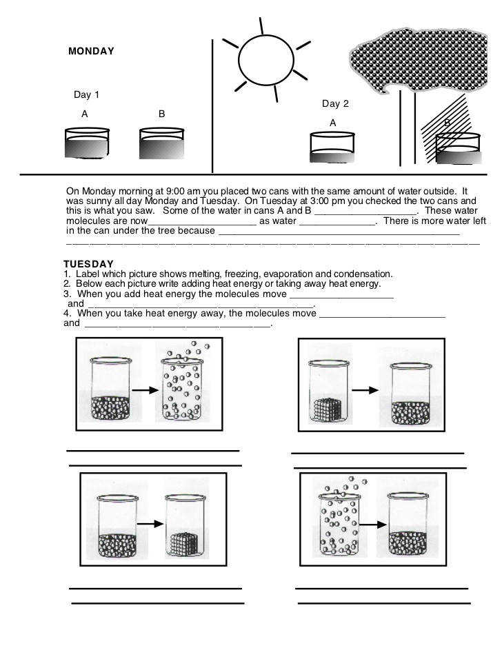 States of matter worksheet MONDAY Day 1 Day 2 A B