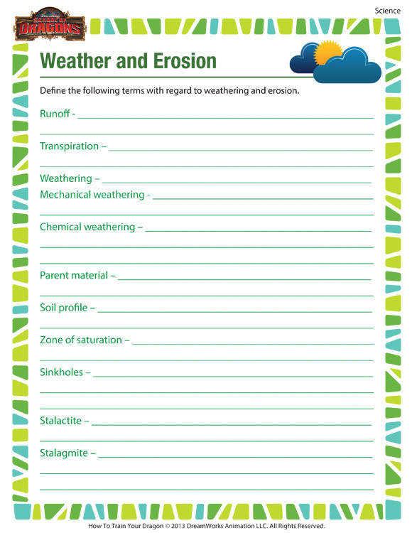 Weather and Erosion Free printable science worksheet