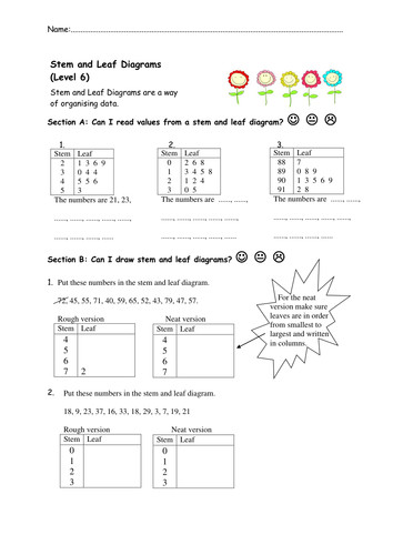 Stem and Leaf Diagrams Worksheets by nottcl Teaching Resources Tes