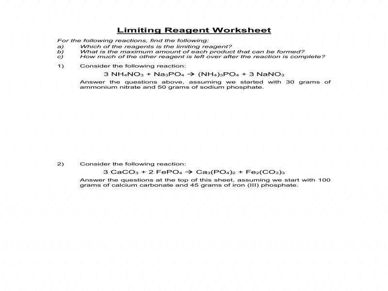 Limiting Reactant Worksheet With Answers Worksheets