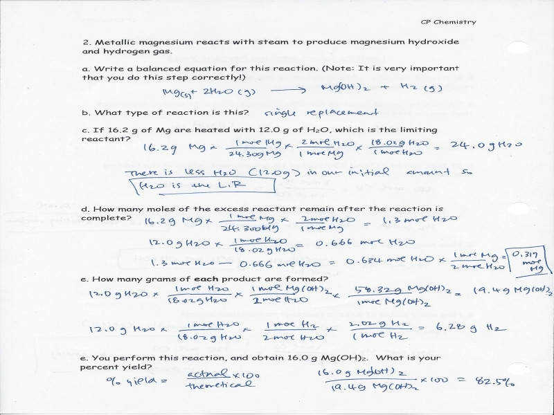 chemistry worksheet 12 3 limiting reagent and pecent yield with anser key 3 4 2016 hearn