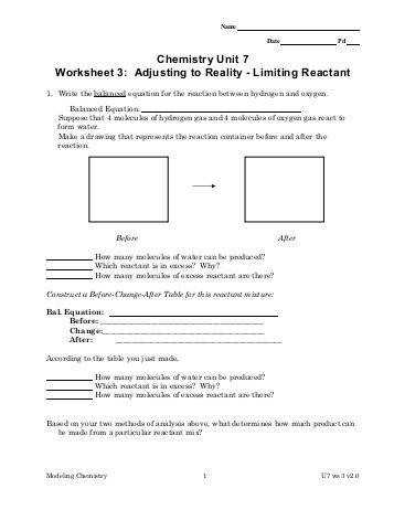 Chemistry Unit 7 Worksheet 3 Adjusting to Reality Limiting Reactant
