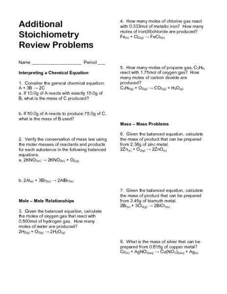 Additional Stoichiometry Review Problems 11th Higher Ed Worksheet