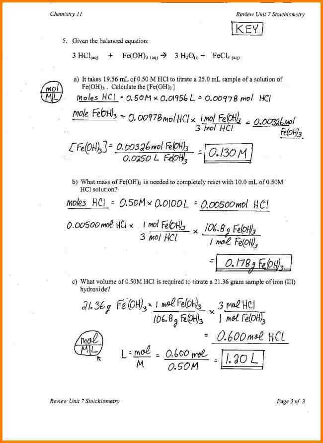 Chemistry II Stoichiometry Worksheet 10th 12th Grade Worksheet