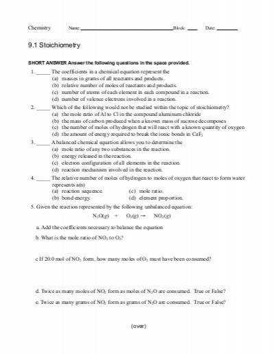Worksheet 9 1 Stoichiometry