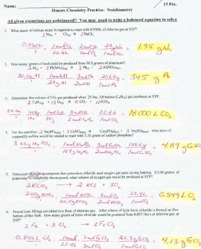 Reading Lore Definition Stoichiometry Worksheet 1 Answers Stoichiometry
