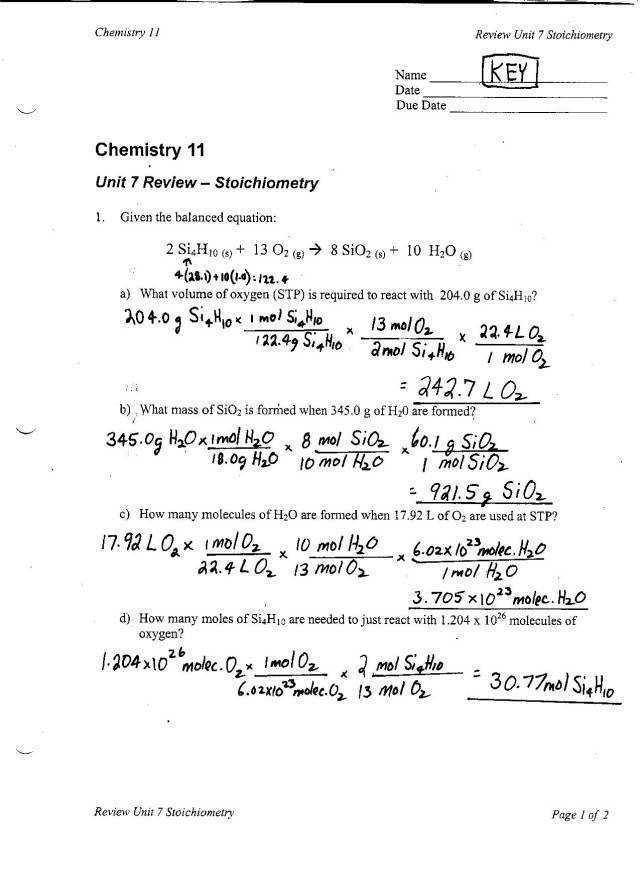 Gas Stoichiometry Worksheet pressure of 1 0 atm and a Announcements STOICHIOMETRY TEST REVIEW ANSWER KEYS