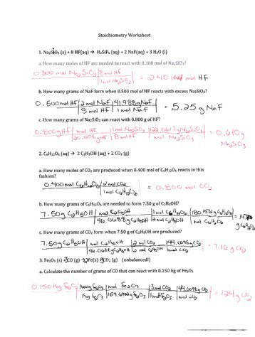 Percent Yield and Stoichiometry Notes and Practice Problems