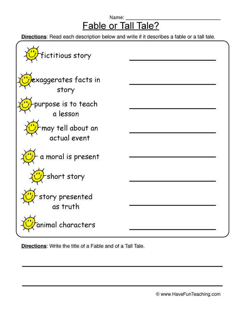 Fables Tall Tales Worksheet