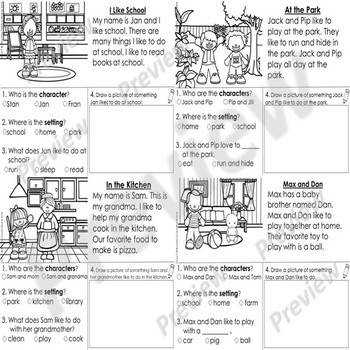 Kindergarten Story Element Worksheets Set 1