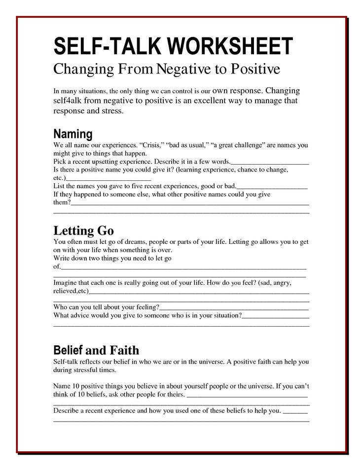 The Worry Bag Self Talk Worksheet the healing path with children