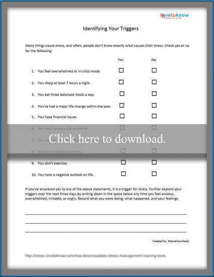 stress striggers worksheet