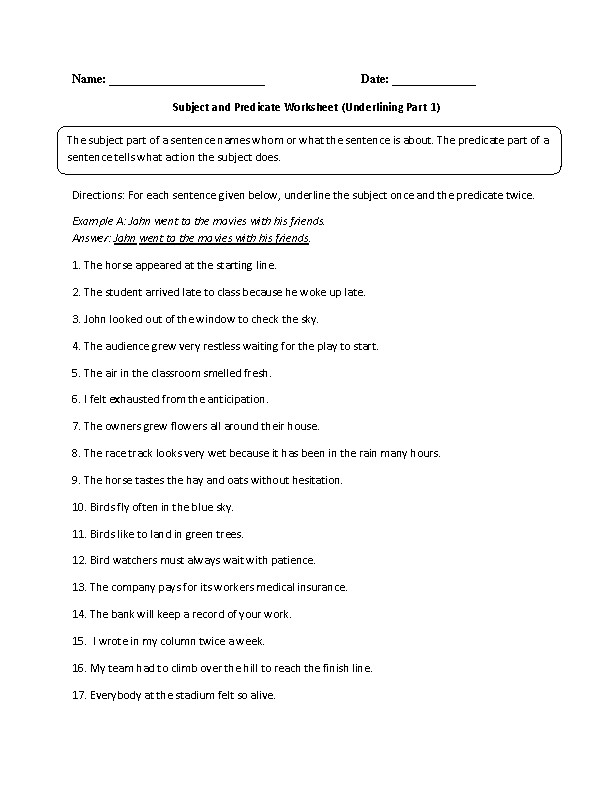 Finding Subject and Predicate Worksheet