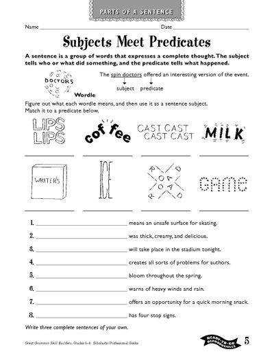 Best Solutions of Second Grade Subject And Predicate Worksheets About Summary