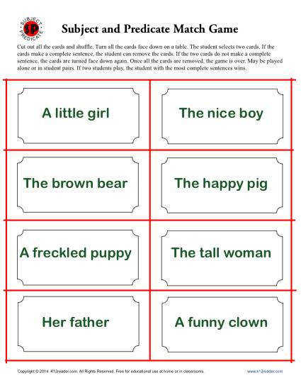 Subject and Predicate Activity – Match Game