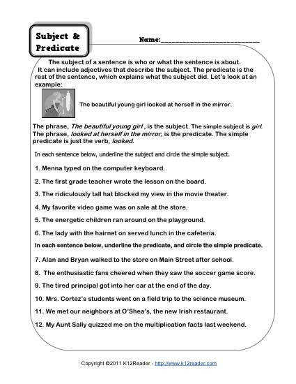 Subject and Predicate Worksheet Activity