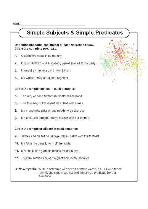 This printable worksheet s students focusing on both simple and plete subjects and predicates Read