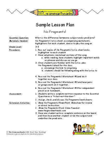 Subject & Predicate Worksheet Packet and Lesson Plan