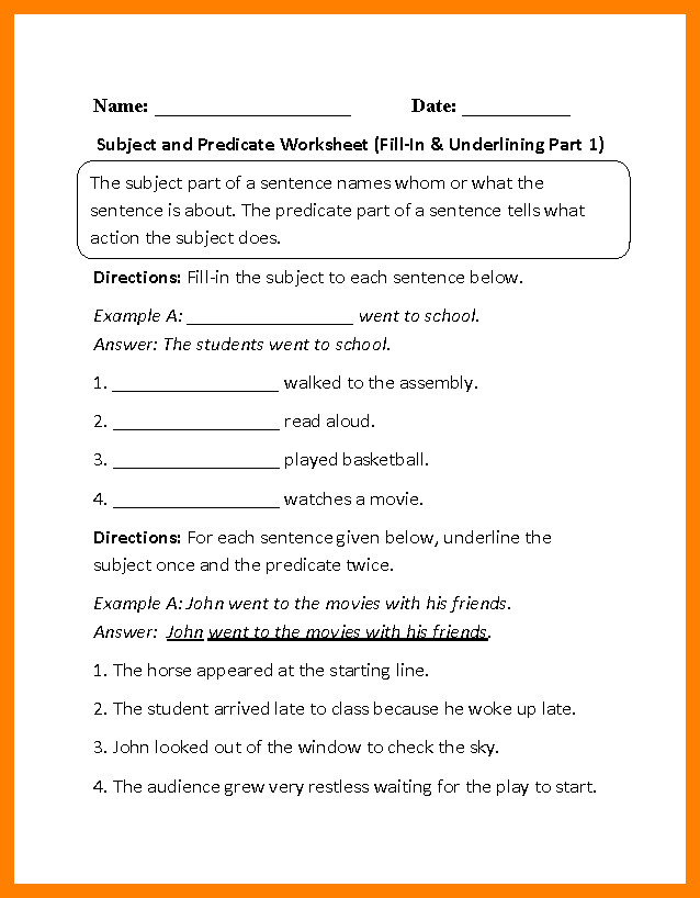 subject and predicate worksheets Subject Predicate Fill In Underlining P 1 Beginner